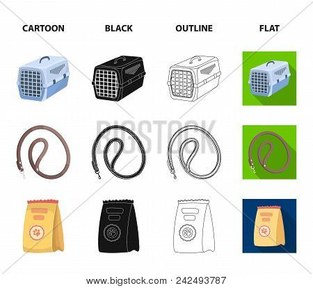 Leash, Feed And Other Zoo Store Products.pet Shop Set Collection Icons In Cartoon, Black, Outline, F