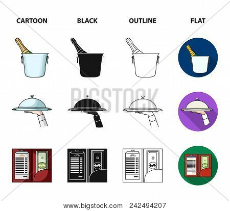 A Tray With A Cloth, Check And Cash, A Bottle Of Wine And Glasses, A Waitress With A Badge. Restaura