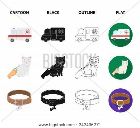 Collar, Bone, Cat, Haircut .vet Clinic Set Collection Icons In Cartoon, Black, Outline, Flat Style V