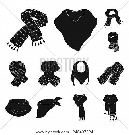 Scarf And Shawl Black Icons In Set Collection For Design.clothes And Accessory Vector Symbol Stock I
