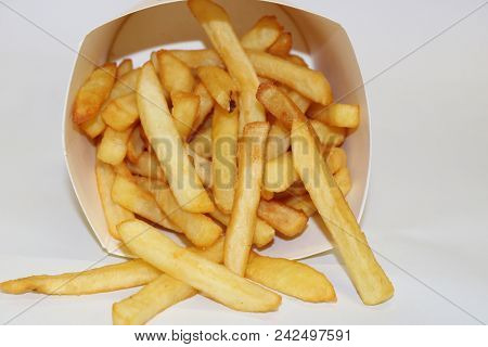 French Fries Box. Fried Potato. French Fries Isolated. Potato Box.
