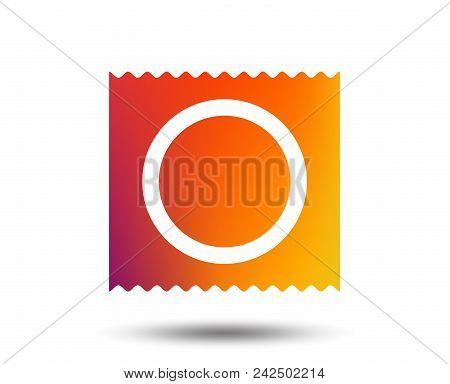 Condom In Package Safe Sex Sign Icon. Safe Love Symbol. Blurred Gradient Design Element. Vivid Graph