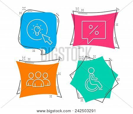 Set Of Discount Message, Energy And Group Icons. Disabled Sign. Special Offer, Turn On The Light, Gr