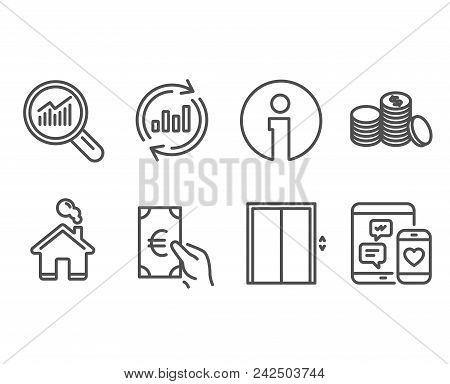 Set Of Lift, Update Data And Banking Money Icons. Data Analysis, Finance And Social Media Signs. Ele