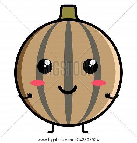 Cute Sapodilla Emoticon Image. Vector Illustration Design