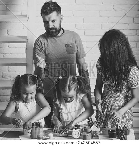 Kids Face Skin Care. Portrait Girl Face In Your Advertisnent. Girls Drawing With Mother And Father.