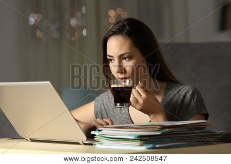 Self Employed Drinking Coffee Working Online Late Hours In The Night At Home