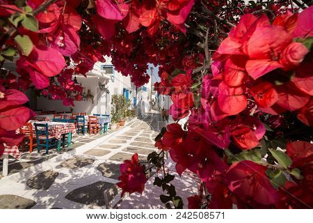 Mykonos, Greece - May 2018: View Over The Old Cobbled Street In Mykonos Town District Little Venice