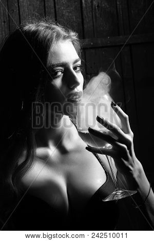 Sensual Woman Body. Closeup View Portrait Of One Beautiful Young Sensual Serious Enigmatic Enchanted