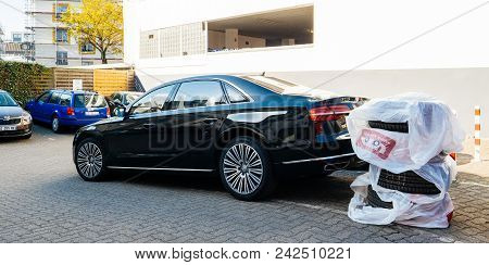 Frankfurt, Germany - Apr 17, 2018: Luxury Audi Limousine With Winter Summer Tires Wheels Next To The