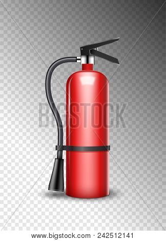 Fire Extinguisher Protection Isolated On Transparent. Red Fire Extinguisher Emergency Danger.