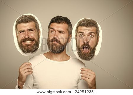 Serious Man. Man With Long Beard And Mustache. Feeling And Emotions. Hipster With Surprised And Seri