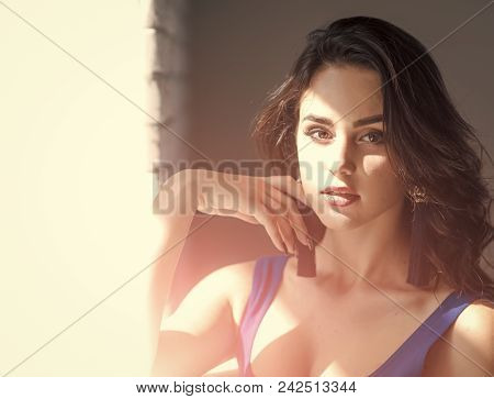 Women Face Skin Care. Portrait Women Face In Your Advertisnent. Woman With Long Brunette Hair Stand