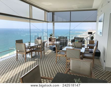 Tel Aviv, Israel - May 15, 2018: Hilton Hotel Vista Lounge. On The 17th Floor, The Lounge Features F