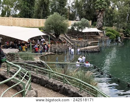 Jordan Valley, Israel - May 13, 2018: Yardenit Baptismal Site. On The Banks Of The Jordan River, Tou