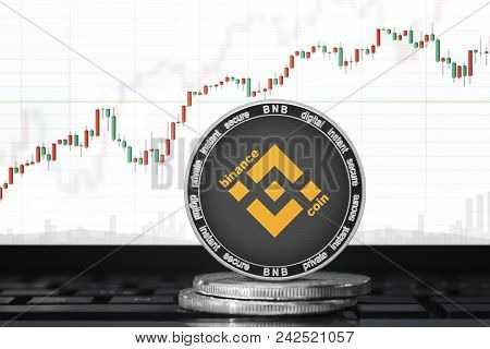 Binance (bnb) Cryptocurrency; Binance Coin On The Background Of The Chart