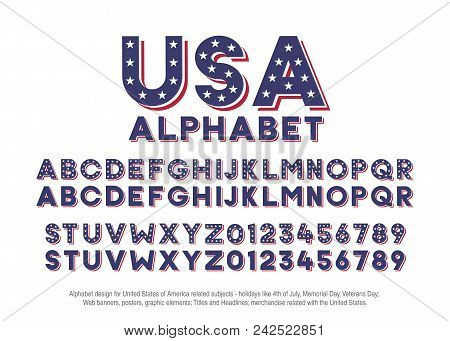 American Alphabet With Usa Flag Colors And Star Shapes. Vector Font For United States Of America Rel