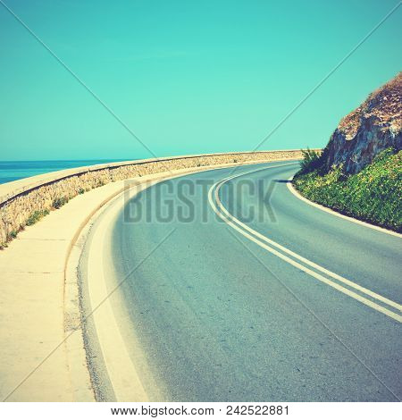 Turn - Sharp bend in a road. Vintage style