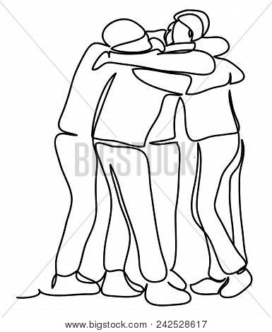group hug images illustrations vectors free bigstock Construction Worker Vest group of men hugging continuous line drawing isolated on the white background vector