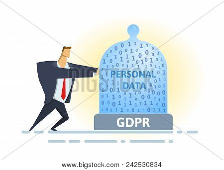 Gdpr Standard And Compliance. Personal Data Security. Man Moving Glass Dome With Personal Data And G