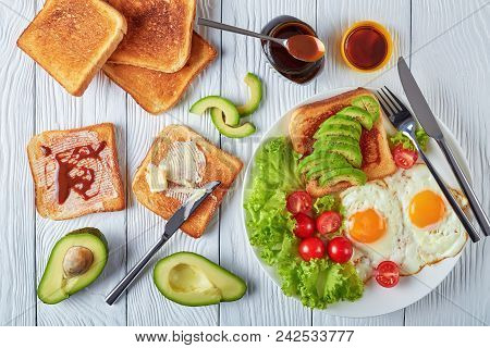Eggs, Salad, Toasts With Yeast Spread