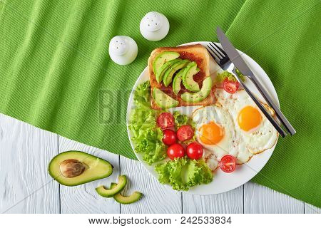 English Breakfast - Fried Eggs, Toast, Salad