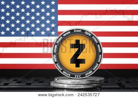 Zcash (zec) Cryptocurrency; Physical Concept Zcash Coin On The Background Of The Flag Of United Stat
