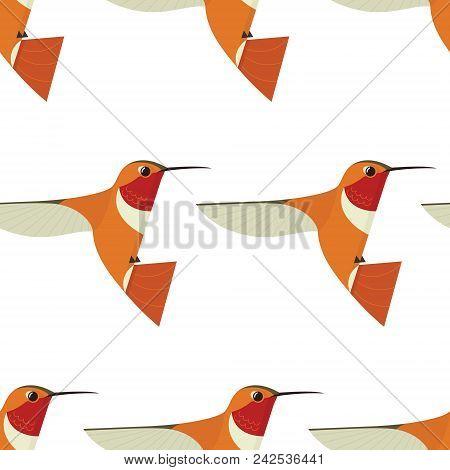 Humming Bird Icon Geometric Cartoon Flat Vector Illustration Stylized Animal Seamless Pattern Set