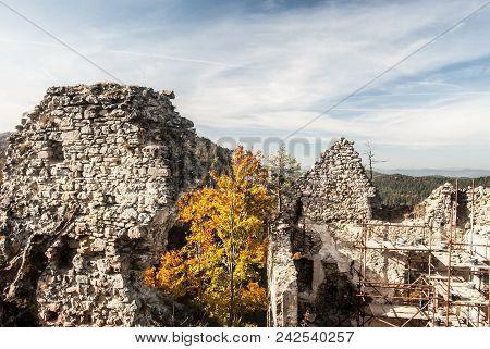 Ruins Of Hricovsky Hrad Castle Near Bytva City In Sulovske Skaly Mountains In Slovakia During Nice A