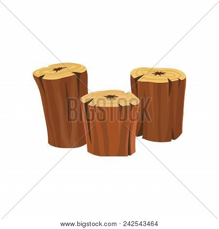 Stumps Of Old Dry Trees. Organic Wooden Material. Wood Production Industry. Icon In Cartoon Style. G