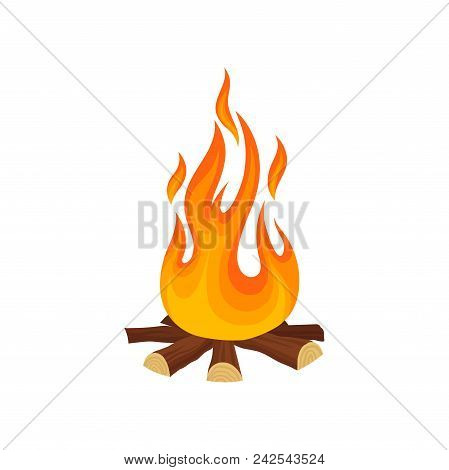 Cartoon Icon Of Bonfire Campfire. Tree Logs And Hot Yellow Orange Flame. Colorful Graphic Element Fo