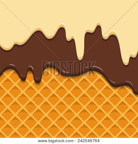 Pattern Waffle Texture Melts Frosting Ice Cream Dripping. Glossy Streaks Chocolate Vanilla Cream Cri