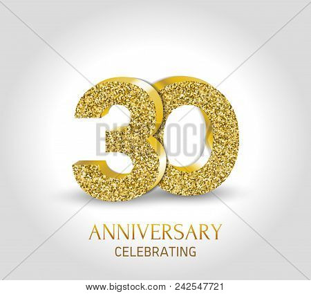 30 - Year Anniversary Banner. 30th Anniversary 3d Logo With Gold Elements.