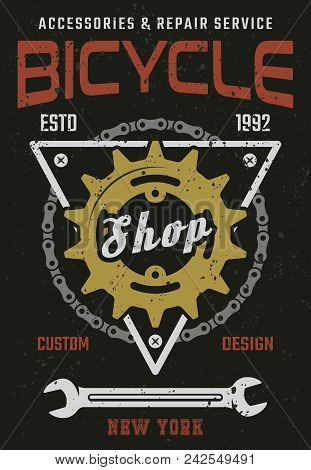 Bicycle Shop And Repair Service Vintage Vector Colored Poster With Rear Sprocket, Bike Chain And Wre