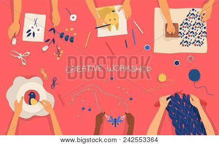 Colorful Horizontal Banner With Hands Making Decorative Craftwork - Drawing, Stamping, Embroidering,