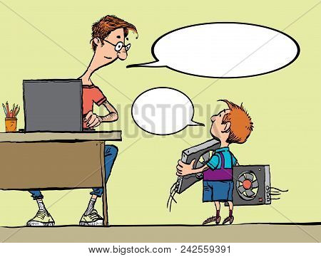 Young Miner. Man And A Boy. Dad And Son Mining Bitcoit. Boy Brings Video Card. Man Working In Bitcoi