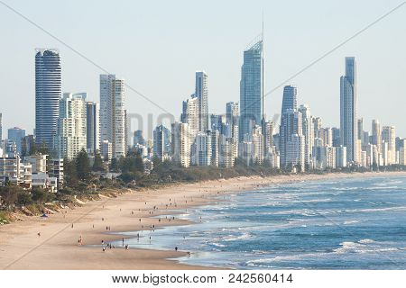 Surfers Paradise - April 21: Panoramic View Of Surfers Paradise Skyline And Beachfront, One Of The M