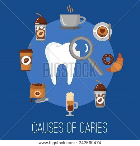 Causes Of Caries Poster With Icons Of Coffee Sweets. Factors Provoking Caries. Medicine Symbols For