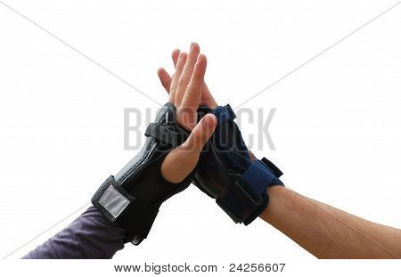 Teen Arms In Roller Wrist Guards Salutation Isolated