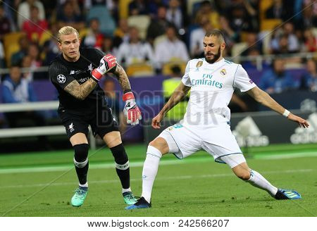 Kyiv, Ukraine - May 26, 2018: Karim Benzema Of Real Madrid (r) Scores A 1st Goal During The Uefa Cha