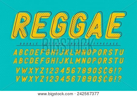 Reggae Condensed Display Font Popart Design, Alphabet, Letters And Numbers. Swatch Color Control