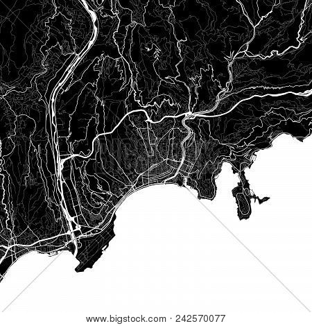 Area Map Of Nice, France. Dark Background Version For Infographic And Marketing Projects. This Map O