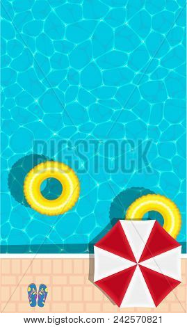 Summer Pool Party Banner With Space For Text. Yellow Pool Float, Sun Umbrella And Flip Flops. Ring F