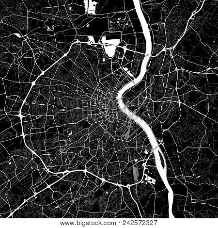 Area Map Of Bordeaux, France. Dark Background Version For Infographic And Marketing Projects. This M