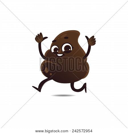 Cheerfu Brown Poop Character With Legs And Arms Running Waving Hands, Thumbs Up Gesture With Happy F