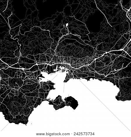 Area Map Of Toulon, France. Dark Background Version For Infographic And Marketing Projects. This Map