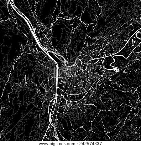 Area Map Of Grenoble, France. Dark Background Version For Infographic And Marketing Projects. This M