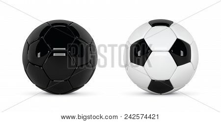 Set Of 2 Realistic Soccer Balls Or Football Ball On White Background. 3d Style Vector Ball Isolated