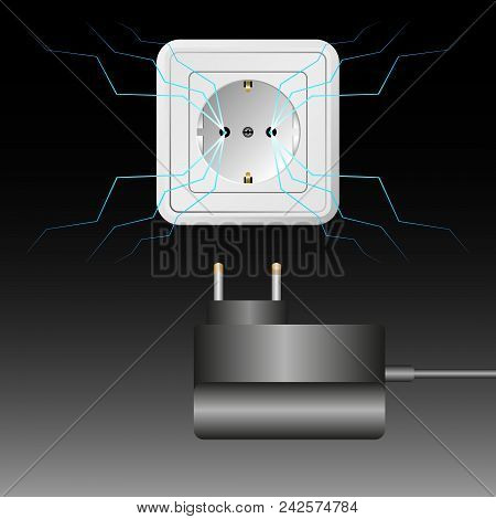 Electrical Outlet And Charger On Black Background. Lightning, A Sparking Electrical Current. Vector