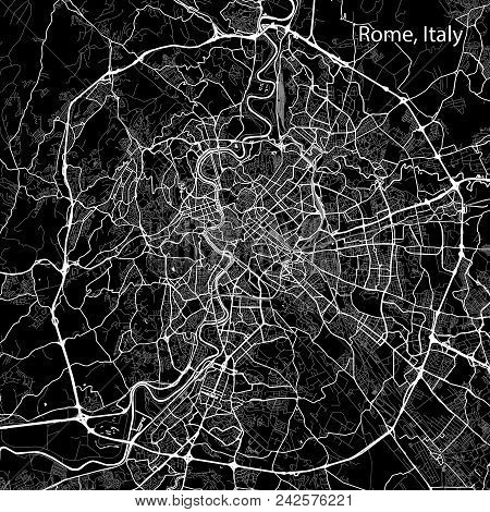 Area Map Of Rome, Italy. Dark Background Version For Infographic And Marketing Projects. This Map Of